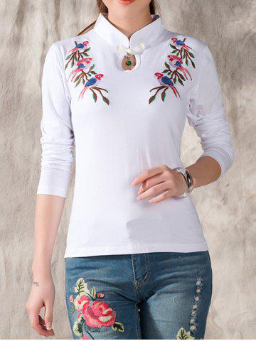 Trendy Embroidered Keyhole T-Shirt