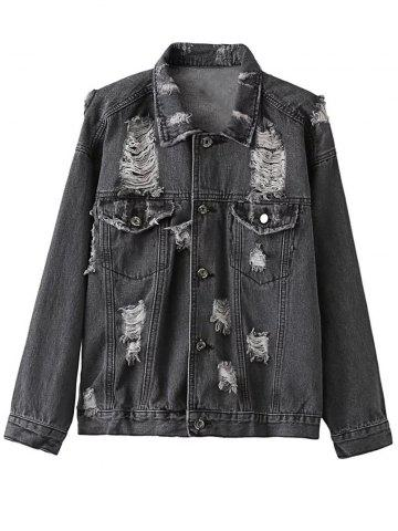 Fancy Shirt Collar Ripped Denim Jacket