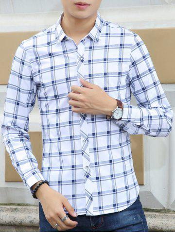 Chic Turn-Down Collar Checked Pattern Long Sleeve Shirt