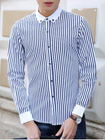 Online Turn-Down Collar Vertical Stripe Pattern Buttom-Down Shirt