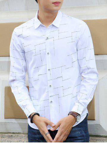 Affordable Turn-Down Collar Circuit Print Long Sleeves Shirt