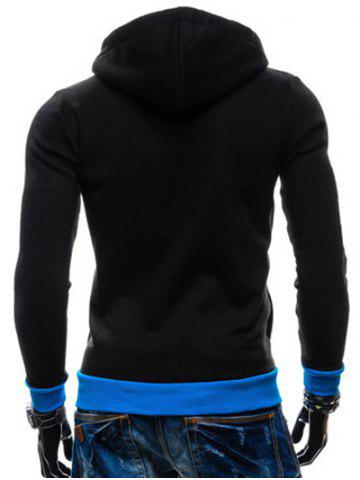 Unique Color Splicing Zippered Drawstring Hoodie - BLACK M Mobile