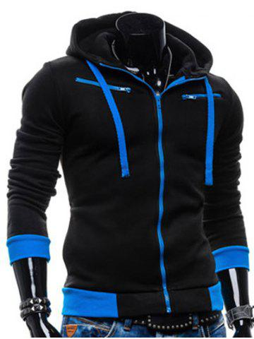 Store Color Splicing Zippered Drawstring Hoodie - BLACK M Mobile