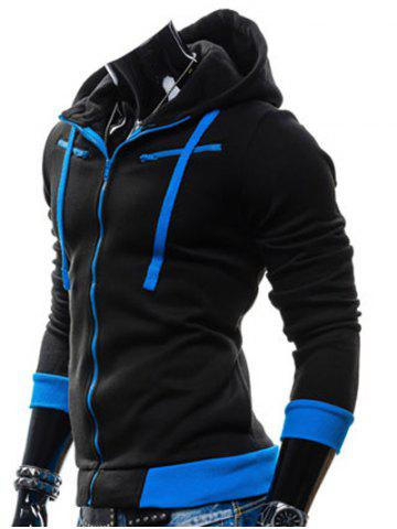 Shop Color Splicing Zippered Drawstring Hoodie - BLACK M Mobile