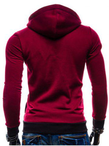 Best Color Splicing Zippered Drawstring Hoodie - WINE RED XL Mobile