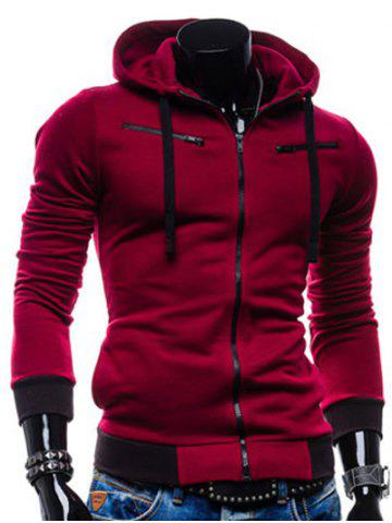 Color Splicing Zippered Drawstring Hoodie - Wine Red - M