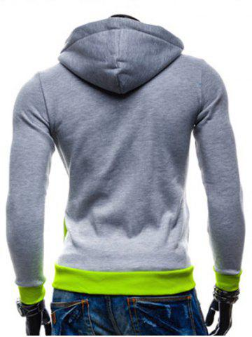 Buy Color Splicing Zippered Drawstring Hoodie - L LIGHT GRAY Mobile