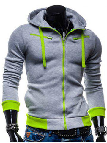 Online Color Splicing Zippered Drawstring Hoodie - L LIGHT GRAY Mobile