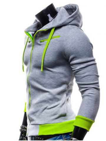 Buy Color Splicing Zippered Drawstring Hoodie - LIGHT GRAY M Mobile