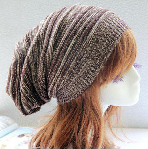 Shop Stripy Color Block Knitted Slouchy Beanie - COFFEE  Mobile