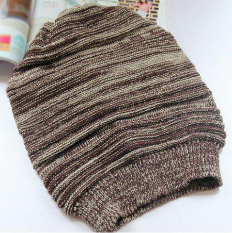 Outfit Stripy Color Block Knitted Slouchy Beanie - COFFEE  Mobile