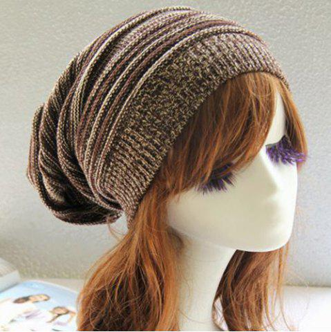 Trendy Stripy Color Block Knitted Slouchy Beanie - COFFEE  Mobile