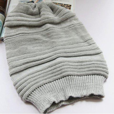 Outfit Stripy Color Block Knitted Slouchy Beanie - GRAY  Mobile