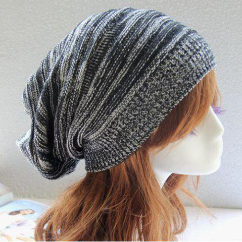 Online Stripy Color Block Knitted Slouchy Beanie - BLACK  Mobile