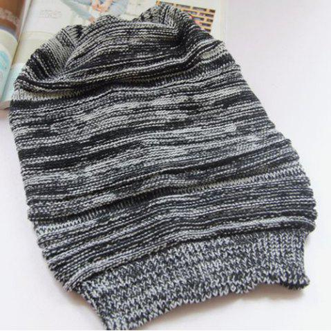 Latest Stripy Color Block Knitted Slouchy Beanie - BLACK  Mobile