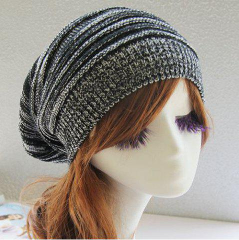 Outfit Stripy Color Block Knitted Slouchy Beanie - BLACK  Mobile