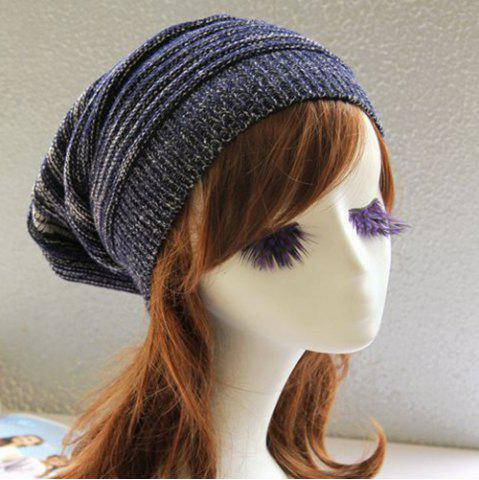 Online Stripy Color Block Knitted Slouchy Beanie - CADETBLUE  Mobile