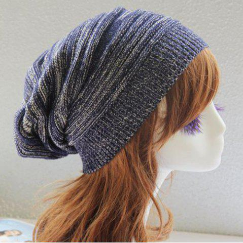 Latest Stripy Color Block Knitted Slouchy Beanie - CADETBLUE  Mobile