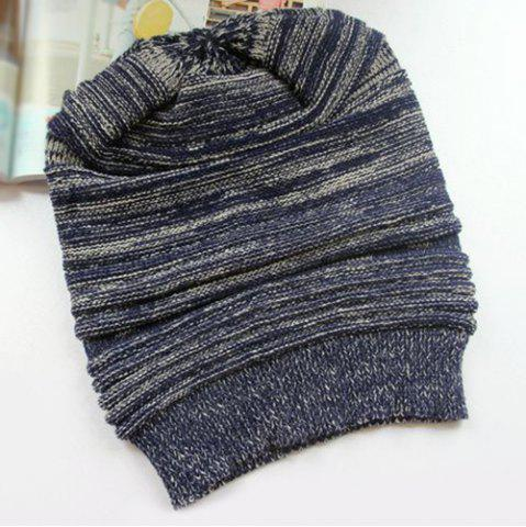 Affordable Stripy Color Block Knitted Slouchy Beanie - CADETBLUE  Mobile