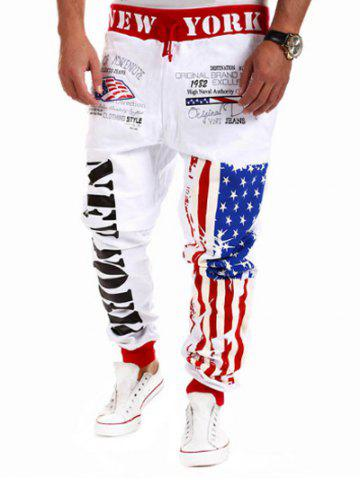 Best Drop Crotch American Flag Joggers - 2XL WHITE Mobile
