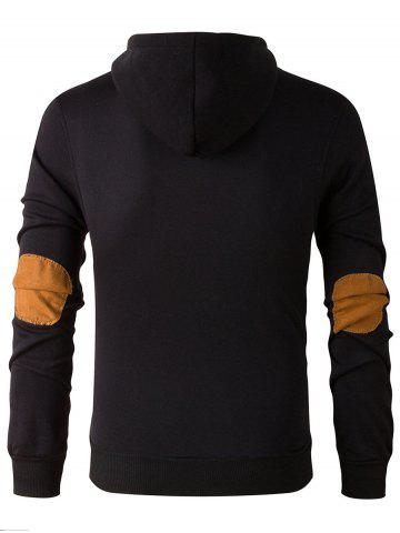 Chic Elbow Patch Long Sleeve Drawstring Pullover Hoodie - L BLACK Mobile