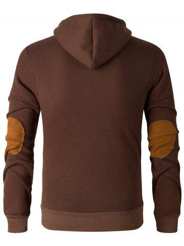 Fancy Elbow Patch Long Sleeve Drawstring Pullover Hoodie - 2XL COFFEE Mobile