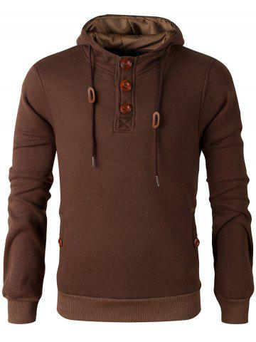 Cheap Elbow Patch Long Sleeve Drawstring Pullover Hoodie - M COFFEE Mobile
