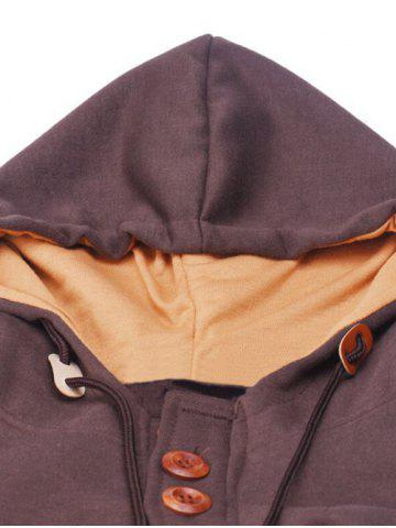 Chic Elbow Patch Long Sleeve Drawstring Pullover Hoodie - M COFFEE Mobile
