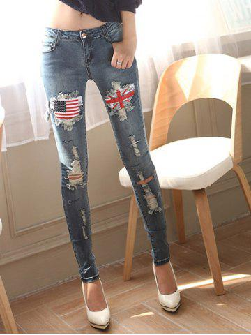 Buy Stretchy Broken Hole Flag Patch Design Jeans