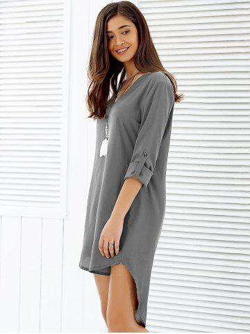 Sale Asymmetrical V Neck Casual Knee Length Going Out Dress - XL GRAY Mobile