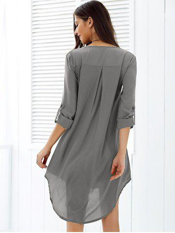 Fancy Asymmetrical V Neck Casual Knee Length Going Out Dress - XL GRAY Mobile