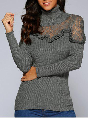 Hot Concise Ruffle Lace Splice Close-Fitting Knitwear GRAY L