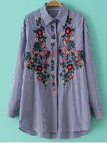 Cheap Striped Floral Embroidered Button Up Shirt