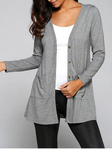 New Collarless Long Sleeve Buttoned Loose Cardigan