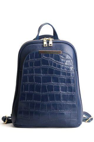 Crocodile Embossed Metal Leather Backpack - Blue
