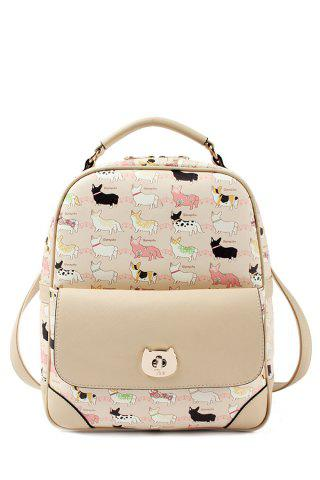 Chic Cartoon Cat Print Metallic Hasp Backpack APRICOT