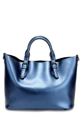 Leather Buckles Tote Bag - Sapphire Blue