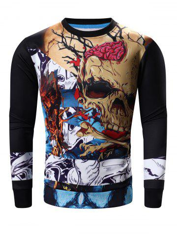 Fashion Round Neck Abstract Skull Print Long Sleeve Sweatshirt
