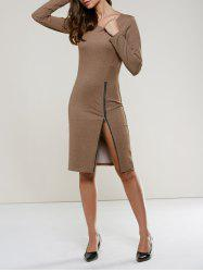 Long Sleeve Zippered Dress