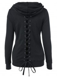 Casual Solid Color Lace-Up Sweatshirt -