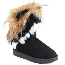 Faux Fur Mid Calf Boots - BLACK
