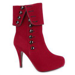 Fold Over Button Mid Calf Boots - RED
