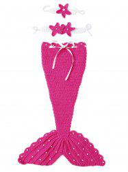 3PCS Baby Photography Prop Crochet Mermaid Blanket Suits - ROSE RED