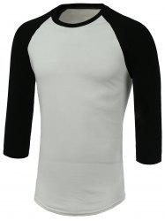 Round Neck Color Block Three-Quarter Raglan Sleeve T-Shirt -