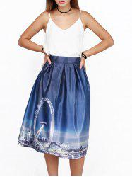 City Scenery 3D Print High Waist Skirt - PURPLISH BLUE
