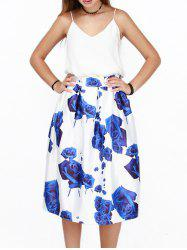 3D Rose Print High Waist Puff Skirt