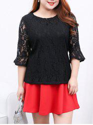 Flare Sleeves Laciness Blouse - BLACK 4XL
