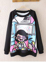 Raglan Sleeves Cartoon Print Plus Size Sweatshirt - BLACK