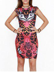 Abstract Print Slimming Bodycon Dress -