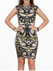 Abstract Print Bodycon Dress -